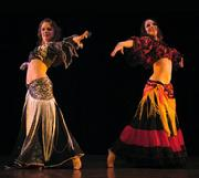 Piper and Melina, the Daughters of Rhea, perform Raks Kahti at Belly Dance Magic 2006, photo by Algerina Perna of the Baltimore Sun