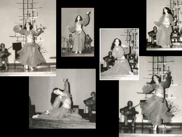 Rhea dancing at one of the first belly dance conventions in 1977