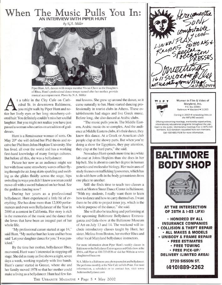 feature article on Piper in Urbanite Magazine 2002