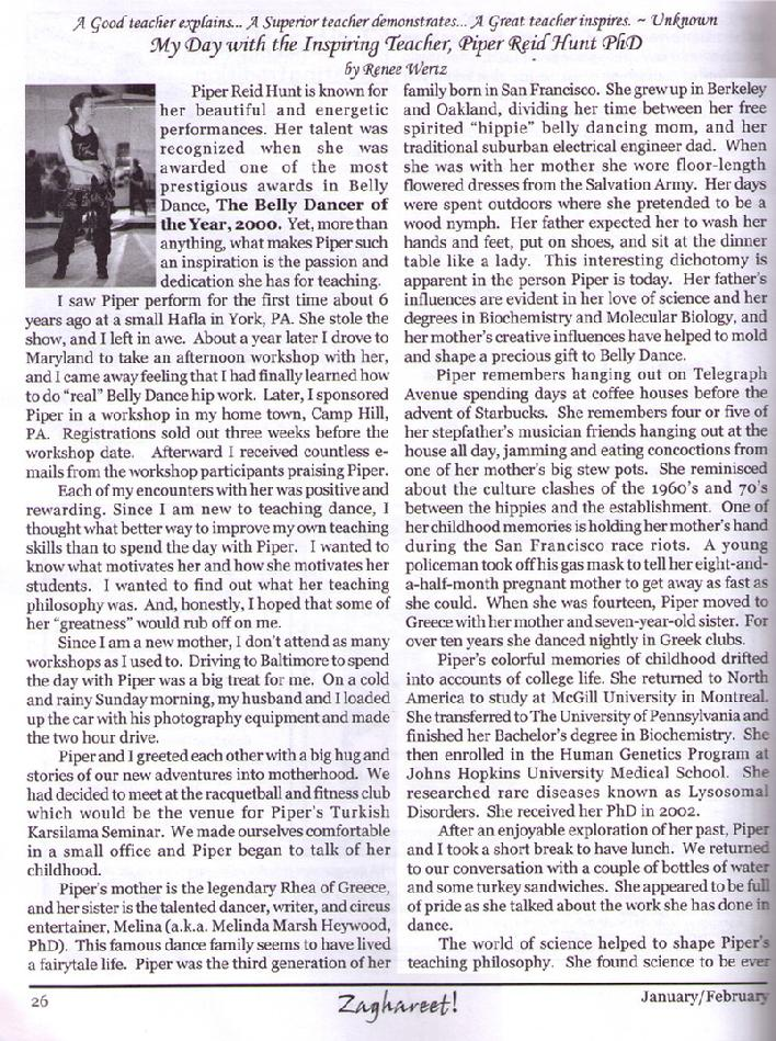 Piper featured in Zaghareet Magazine Jan 2006 a
