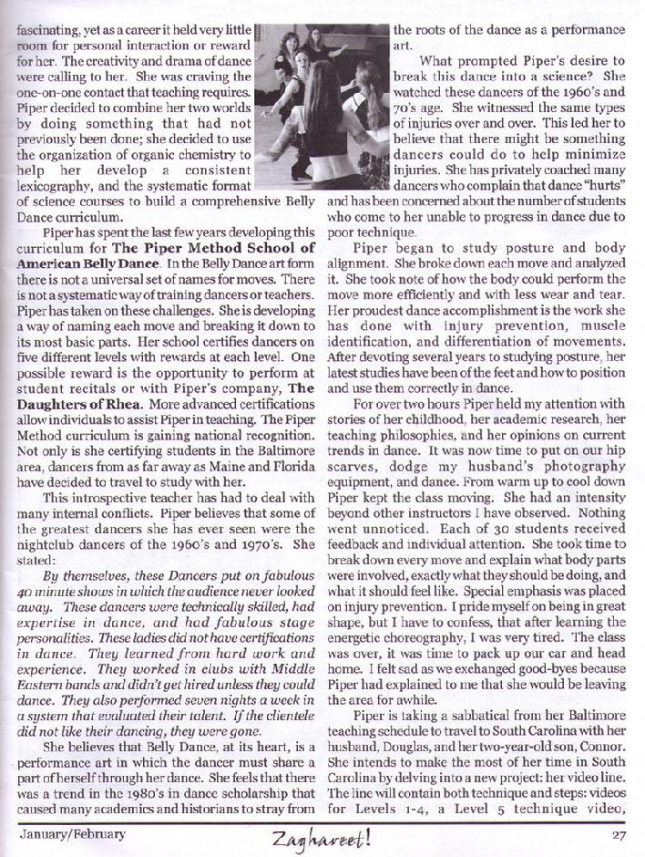 Piper featured in Zaghareet Magazine Jan 2006 b